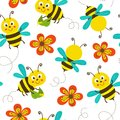 Seamless pattern with funny bees Royalty Free Stock Photo