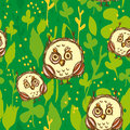 Seamless pattern with funny big-eyed owl on a green background. Vector