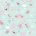 Seamless pattern of funny birds Stock Images
