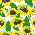 Seamless pattern with funny bugs and sunflowers Royalty Free Stock Images