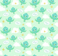 Seamless pattern with funny cartoon birds. Endless background. Royalty Free Stock Photo