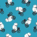 Seamless pattern with funny cartoon circus bear wearing bow tie and riding bicycle with front basket full of red tulip Royalty Free Stock Photo