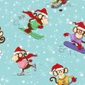 Seamless Pattern Of Funny Cartoon Monkey Doing Winter Sports.