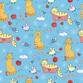 Seamless pattern with funny cats Royalty Free Stock Photography