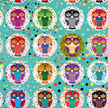 Seamless pattern with funny colored owls on a turquoise background.