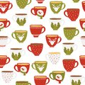 Seamless pattern of funny cups on a white background. Christmas cups. Vector illustration of hand drawn flat style