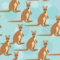 Seamless pattern with funny cute kangaroo animal Royalty Free Stock Photo