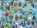 Seamless pattern with funny fairy tales heroes. Fantasy characters wallpaper. Design for print, children`s room, t-shirt, party.
