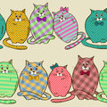 Seamless pattern of funny fat cats colorful patterned Stock Images