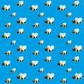 Seamless pattern with funny flying bees on sky Royalty Free Stock Photo