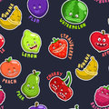 Seamless pattern with funny fruit characters Royalty Free Stock Photo