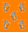 Seamless pattern with funny kittens Stock Photo