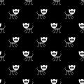 Seamless pattern with funny kitty skeletons vector texture for wallpapers fills web page backgrounds Royalty Free Stock Photo
