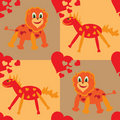 Seamless pattern with funny lion and horse Stock Images