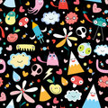 Seamless pattern from funny monsters Royalty Free Stock Image