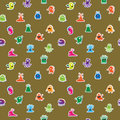 Seamless pattern with funny monsters and aliens