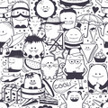 Seamless pattern. Funny monsters, personage. Hand drawn cartoon animals Royalty Free Stock Photo