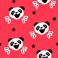 Seamless pattern with funny panda and black stars. Vector background
