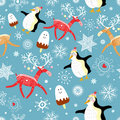 Seamless pattern of funny penguins and deer Stock Photos