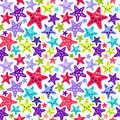 Seamless pattern with funny starfish Stock Photo