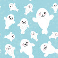 Seamless pattern Funny white fur seal pups, cute Royalty Free Stock Photo