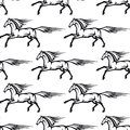 Seamless pattern of galloping horses with their manes and tales flowing in the wind black and white vector illustration Stock Photography