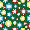 Seamless pattern of the game of casino chips on a green background Royalty Free Stock Photos