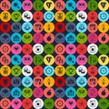 Seamless pattern with game icons in flat design Royalty Free Stock Photo