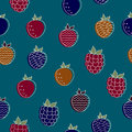 Seamless pattern of garden berries. Abstract berries and leaves on a color background Royalty Free Stock Photo