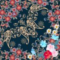 Seamless pattern with garden flowers and paisley ornament in russian style. Quarter ethnic shawl.