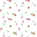 Seamless pattern with garden fruits and berries.Cherry, raspberry, currant, strawberry, apple and flower.