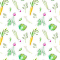 Seamless pattern with garden vegetables.