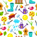 Seamless pattern with gardening objects.