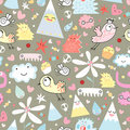 Seamless pattern of gay monsters and birds Royalty Free Stock Photo