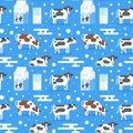 Seamless pattern with gazing cow Royalty Free Stock Photo