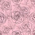 Seamless pattern with gentle linear roses and leaves on a pink background