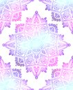Seamless pattern of gentle mandalas on white background. Hand drawn doodle lace background. Vector gradient texture