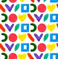Seamless pattern geometric different form and shapes circle, square, heart in color rainbow in white background