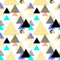Seamless pattern Geometric elements Memphis Postmodern Retro fashion style 80-90s. texture shapes triangle Yellow gray black blue Royalty Free Stock Photo