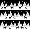 Seamless pattern with geometric snowy mountains and reindeers. Black and white nature illustration.