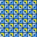 Seamless pattern, geometric, squares, blue, yellow, halves, background.