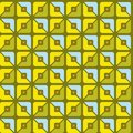 Seamless pattern, geometric, squares, yellow, green, blue, halves, background. Royalty Free Stock Photo