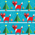 Seamless pattern with geometrical  fox , snow , Christmas trees with  lights and babbles Christmas gifts in two shades on blue Royalty Free Stock Photo