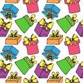 Seamless pattern with gift boxes of colored painted bow ribbon Stock Photo
