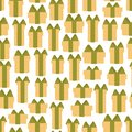 Seamless pattern of gift boxes on a white background .Vector illustration in cartoon