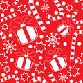 Seamless pattern with gifts and candy canes Royalty Free Stock Photo