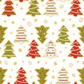 Seamless pattern of gingerbread in the form of Christmas trees