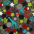 Seamless pattern with giraffe and flowers. Stock Photo