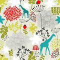 Seamless pattern with giraffe and flowers vector background Royalty Free Stock Image