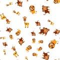 Seamless pattern of giraffe lion and monkey